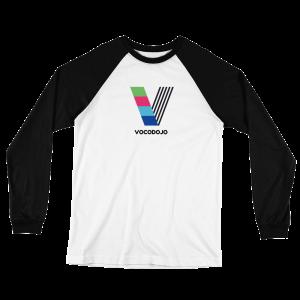 Vocodojo White and Black Baseball Jersey T-Shirt